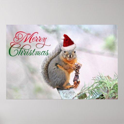 Ardilla de las Felices Navidad Póster