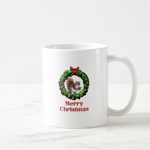 Ardilla de las Felices Navidad Taza