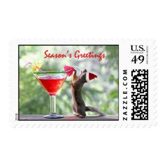 Ardilla de los saludos de la estación sello postal