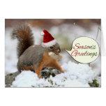 Ardilla de Navidad en nieve Felicitacion