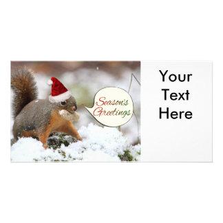 Ardilla de Navidad en nieve Tarjetas Con Fotos Personalizadas