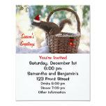 Ardilla de Santa en cesta del navidad Nevado Invitación 10,8 X 13,9 Cm