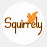 Ardilla de Squirrely Pegatinas Redondas