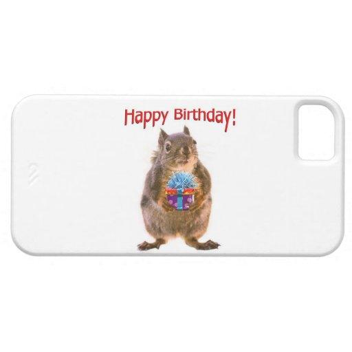 Ardilla del feliz cumpleaños con el presente funda para iPhone SE/5/5s