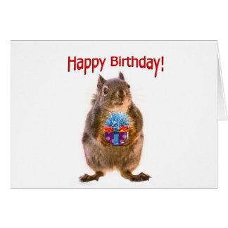 Ardilla del feliz cumpleaños con el presente tarjetas