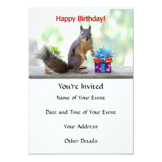 """Ardilla del feliz cumpleaños invitación 5"""" x 7"""""""
