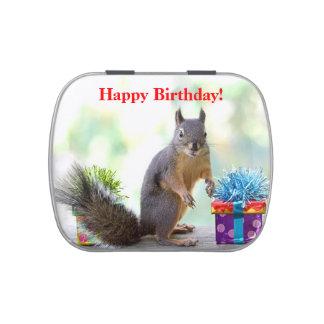 Ardilla del feliz cumpleaños jarrones de caramelos