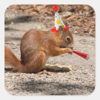 Ardilla del feliz cumpleaños pegatina cuadrada