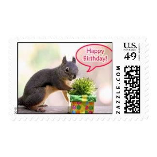 Ardilla del feliz cumpleaños sellos