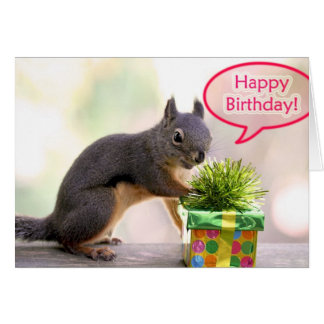 Ardilla del feliz cumpleaños tarjeta
