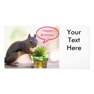Ardilla del feliz cumpleaños tarjeta personal con foto