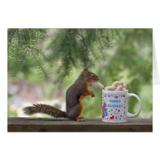Ardilla del feliz cumpleaños tarjeta de felicitación