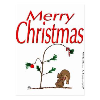 ardilla del navidad s14 y árbol de navidad humilde tarjetas postales