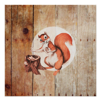 Ardilla divertida en la madera póster
