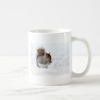 Ardilla en el invierno tazas de café
