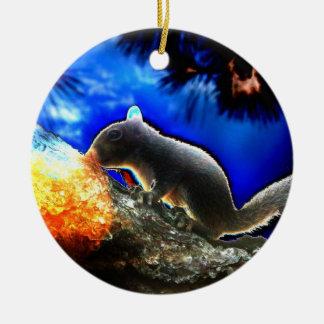 Ardilla en estilo del arte pop del árbol adorno redondo de cerámica