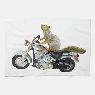 Ardilla en la motocicleta toallas de cocina