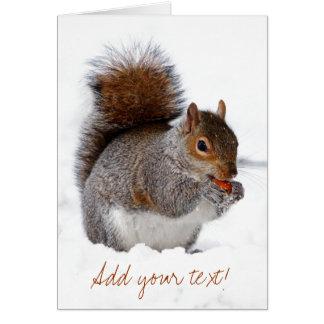 Ardilla en la nieve tarjeta de felicitación