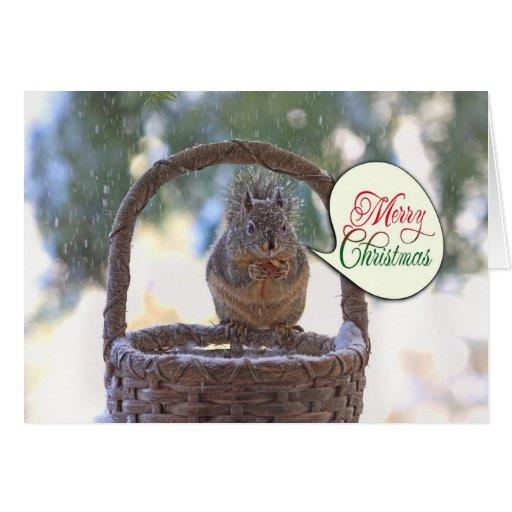Ardilla en nieve que dice Felices Navidad