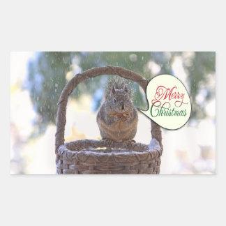 Ardilla en nieve que dice Felices Navidad Rectangular Pegatina