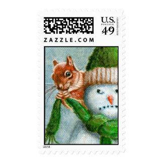 Ardilla en sello del muñeco de nieve
