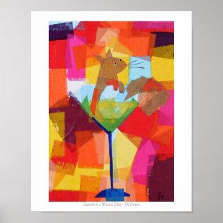 Ardilla en un vidrio de Martini Póster