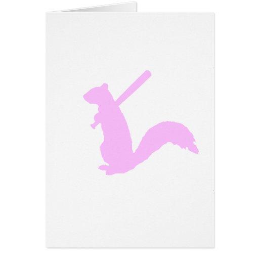 Ardilla enojada rosa clara tarjeta de felicitación