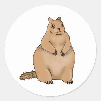 ardilla gorda etiqueta redonda