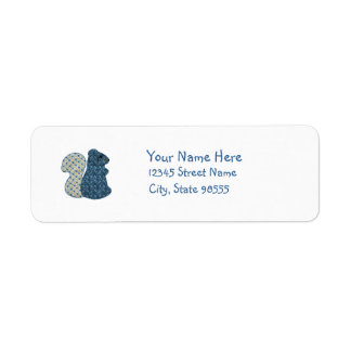 Ardilla linda del azul del estilo rural etiquetas de remite