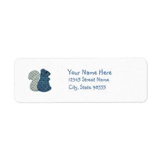 Ardilla linda del azul del estilo rural etiqueta de remite