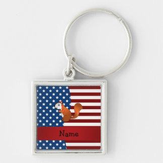 Ardilla patriótica conocida personalizada llaveros
