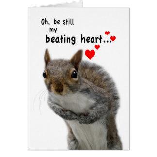 Ardilla pegada amor del el día de San Valentín Tarjeta De Felicitación