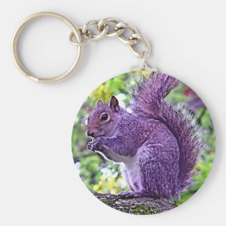 Ardilla púrpura llavero redondo tipo pin