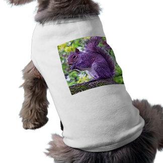 Ardilla púrpura playera sin mangas para perro