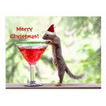 Ardilla que celebra navidad tarjeta postal