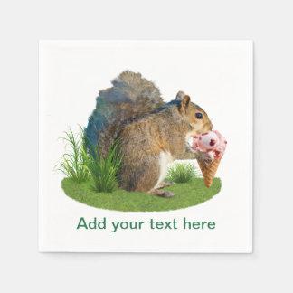 Ardilla que come el cono de helado, texto servilleta de papel