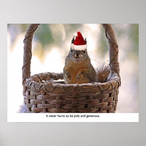 Ardilla que lleva el gorra de Santa Póster