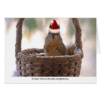 Ardilla que lleva el gorra de Santa Tarjeta Pequeña