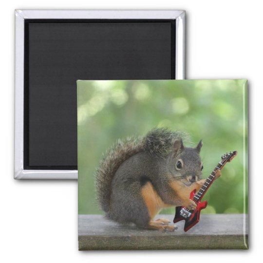 Ardilla que toca la guitarra eléctrica imán cuadrado