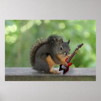 Ardilla que toca la guitarra eléctrica impresiones
