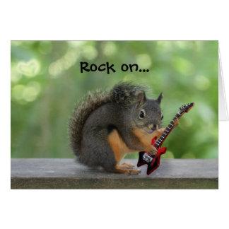 Ardilla que toca la guitarra eléctrica tarjeta de felicitación