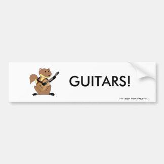 Ardilla que toca la guitarra pegatina para auto