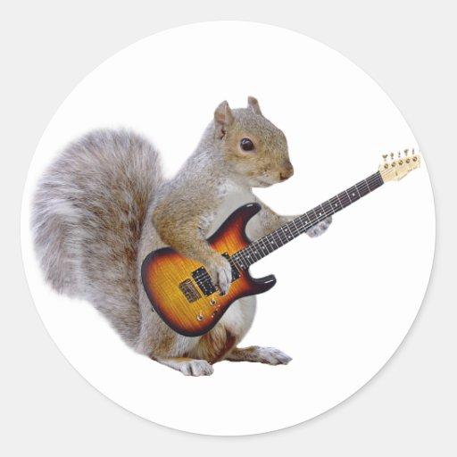 Ardilla que toca la guitarra pegatina redonda