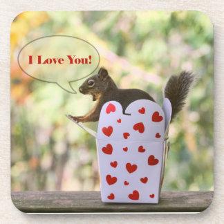 """Ardilla """"te amo"""" tarjeta del día de San Valentín Posavasos De Bebidas"""