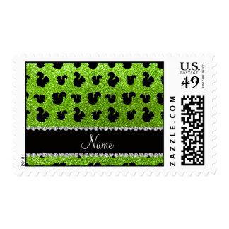 Ardilla verde de neón conocida personalizada del sellos