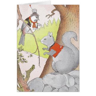 Ardilla y Chickadee grises Tarjeta De Felicitación