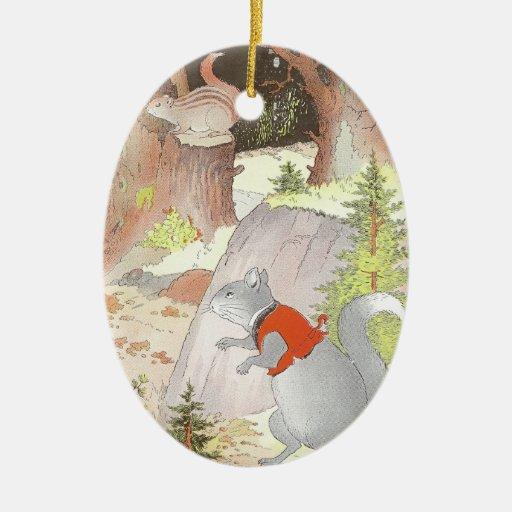 Ardilla y Chipmunk grises en las maderas Adorno Navideño Ovalado De Cerámica