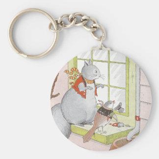 Ardilla y pájaro grises que miran en la ventana llavero personalizado