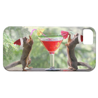 Ardillas de Santa que beben un cóctel iPhone 5 Funda