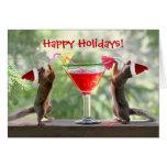 Ardillas de Santa que beben un cóctel Tarjeta De Felicitación